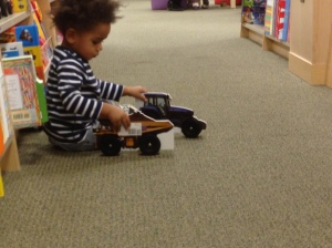 Playing with the Car Books in Barnes and Noble